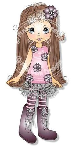 Digital Digi Poppy  Stamp. Cute Girl. Girl Birthdays
