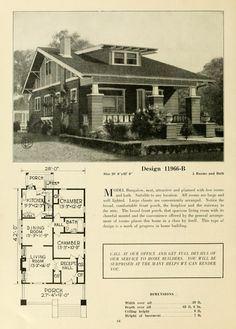 Central's book of homes Bungalow Style House, Bungalow House Plans, Vintage House Plans, Vintage Houses, 1920s House, Craftsman Bungalows, Craftsman Style, Art And Architecture, Curb Appeal