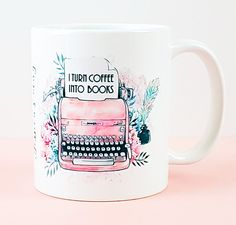 Writer's Mug - Author Mug - I Turn Coffee Into Books - Personalised Novel Mug - Floral Boho Vintage Typewriter - Inspirational Quote Mug Gifts For Bookworms, Vintage Typewriters, Personalized Books, Book Of Life, Book Nerd, Book Worms, Best Gifts, Inspirational Quotes, Etsy Shop