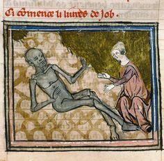 """via @Discarding_Imgs """"Job Zombie, Bible historiale, Paris ca. 1330 (Paris, Bibliothèque Sainte-Geneviève, ms. 22, fol. 204v)"""