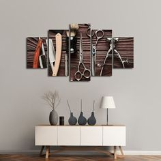 Lifestyle Barbershop Multi Panel Canvas Wall Art by ElephantStock will complement any type of room and become an amazing focal point. Our artworks are all Ready