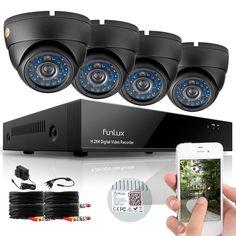 Funlux 4 Indoor Outdoor IR Home Surveillance Camera System 8 CH 960H HDMI DVR #Funlux