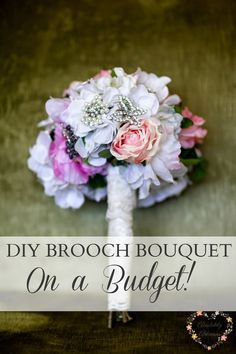 How to DIY a Brooch Bouquet for your wedding-on a budget! Cheap ways to find brooches and put your wedding bouquet together.