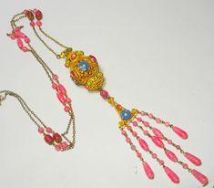 FINEST Czech Foil Enamel Sautoir Art Glass Bead Necklace OLD