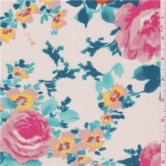 White/Teal Floral Challis - 23242 - Fabric By The Yard At Discount Prices