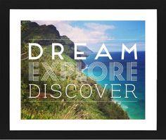 Dream Explore Discover Framed Print, Black, Contemporary, Cream, White, Single piece, 16 x 20 inches, White