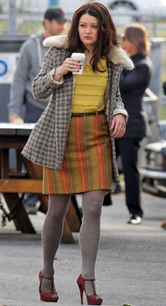 Belle's orange stripe skirt and yellow blouse with grey tights on Once Upon a Time.  Outfit Details: http://wornontv.net/9605/ #OnceUponATime