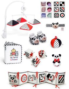 "Genius Baby Infant Stimulation Gift Package - DELUXE! Our Exclusive Black, White & Red- High Contrast Infant Stimulation Genius Baby Gift Package! Includes all 9 Infant Stimulation Products & Toys below. Makes a smart baby shower gift idea, or welcome new born baby gift! Genius Babies! gift packages are presented in white quality gift boxes, with our signature ""for your genius baby logo"". Items inside are arranged with corresponding color tissue paper. Personalized gift cards included. A ..."