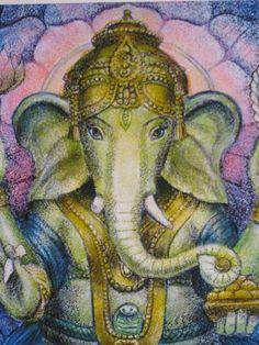 Lotus Ganesha spiritual art Hindu elephant by HalstenbergStudio,