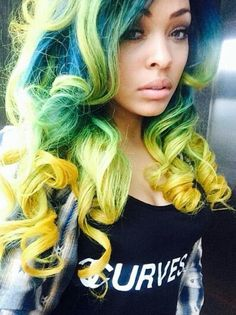 Green blue yellow dyed hair color @dyeddollies