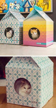 Adorable milk carton cat house