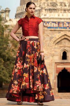 Samyakk Red & wine silk printed lehenga choli