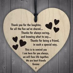 Red Ocean Best Friends Forever Wooden Hanging Heart Friendship Love Gift - Thank You Sign Thank You Quotes For Friends, Wedding Quotes To A Friend, Best Friend Quotes, Cards For Friends, Gifts For Friends, Bff Quotes, Friend Sayings, Friend Poems, Friend Gifts