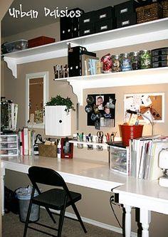 Urban Daisies: Craft Room like the simple ideas here. Craft Room Storage, Craft Organization, Storage Ideas, Organization Ideas, New Crafts, Home Crafts, Small Craft Rooms, Craft Room Design, Hobby Room