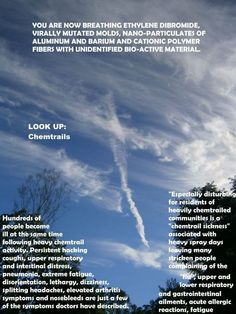 Previous pinner wrote: Diagnosed with sinusitis, pharyngitis and acute bronchitis. Hit me like a brick. I think not. I've been chemtrail poisoned. Good To Know, Did You Know, Question Everything, New World Order, Conspiracy Theories, Look At You, Global Warming, Looking Up, Wake Up