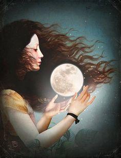 "AstroSpirit / Cancer ♋ / Water / Moon Child / Moon Goddess "" Meet the Moon "" by Christian Schloe Art And Illustration, Illustrations Poster, Fantasy Kunst, Fantasy Art, Beautiful Moon, Arte Pop, Moon Art, Moon Moon, Surreal Art"