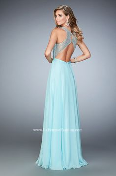 You are sure to feel glamorous and beautiful in La Femme Style #22376 available at Whatchamacallit Boutique