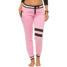Coco Limon Pink Varsity Stripe Fleece-Lined Joggers ($16) via Polyvore featuring activewear, activewear pants and athletic sportswear