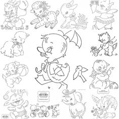 Vintage baby animals embroidery.  Let different family members create a design.  When put together you will have a family-made quilt. (Family makes it SPECIAL) #VintageEmbroideryPatterns
