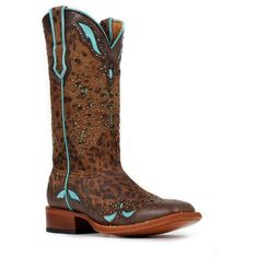 Cinch Classic Women's Jolee Riding Boot ($305) ❤ liked on Polyvore featuring shoes, boots, brogue boots, riding boots, cheetah print cowgirl boots, studded cowboy boots and cheetah boots