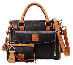 Dooney & Bourke Leather Medium Pocket Satchel with Accessories (Love this in Black, or in GRAPE; whenever it becomes available again).