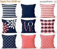SALE Throw Pillow Covers Navy Coral White Navy Blue Pillow Typography Art Contemporary Decor Throw Pillow Covers by HLBhomedesigns on Etsy https://www.etsy.com/listing/241740003/sale-throw-pillow-covers-navy-coral