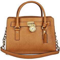 Michael Kors Hamilton Satchel Handbag in Luggage - Tan ($195) ❤ liked on Polyvore featuring bags, handbags, michael kors, satchel style handbags, satchel style purse, beige purse and tan handbags
