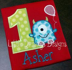 Custom Boys Monster Themed Birthday Shirt by LilDarlingsDesigns, $24.00