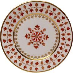 Haviland Parlon Matignon Rust Dessert Plate Dessert Aux Fruits, Gold Highlights, Vintage Type, Elegant Table, Japanese Design, China Patterns, Green Pattern, Service, Vintage China