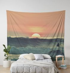 Ocean sunsetOcean Wall TapestryWall Decorocean artphoto   Etsy Photo Tapestry, Tapestry Nature, Ocean Sunset, Ocean Art, Tapestry Bedroom, Wall Tapestry, Gray Bedroom, Bedroom Decor, Master Bedroom