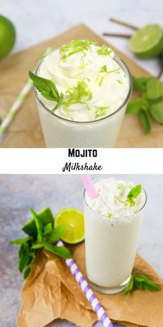 A mash-up of a vanilla milkshake and a mojito, this mojito milkshake is absolute summer perfection! Youll love the flavors of a mojito in a decadent summer treat. Homemade Milkshake, Milkshake Recipes, Smoothie Recipes, Smoothies, Milk Shakes, Healthy Eating Tips, Clean Eating Snacks, Pina Colada, Mojito