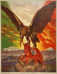 Mexico por la libertad, Mexico for Liberty poster, José Bribiesca (Designer), Secretaría de Gobernación (Publisher), circa 1942. #mexico