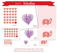 A variety of Free Valentine Printables from Persnickety Prints