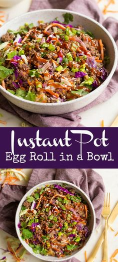 Instant Pot Egg Roll in a Bowl is the perfect weeknight meal! All the taste of a delicious egg roll deconstructed into bowl form. Paleo Recipes Easy, Top Recipes, Whole 30 Recipes, Cookbook Recipes, Free Recipes, Whole 30 Instant Pot, Best Instant Pot Recipe, Instant Pot Asian Recipes, Paleo Menu Plan