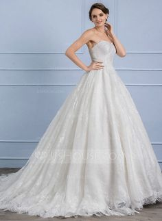 [US$ 246.69] Ball-Gown Sweetheart Court Train Lace Wedding Dress (002107849)
