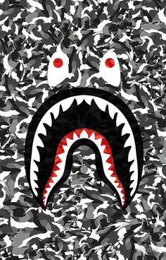 'Bape Camo black whait' iPhone Case/Skin by abndok Bape Shark Wallpaper, Bape Wallpaper Iphone, Hypebeast Iphone Wallpaper, Trendy Wallpaper, Lock Screen Wallpaper, Cool Wallpaper, Wallpaper Backgrounds, Wallpapers Android, Bape Wallpapers