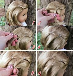 haar kinderen meisjes Baby Hair Style baby doll with hair to style American Girl Hairstyles, Baby Girl Hairstyles, Pretty Hairstyles, Braided Hairstyles, Simple Hairstyles, Holiday Hairstyles, Ag Doll Hairstyles, Easy Toddler Hairstyles, Beautiful Haircuts