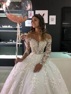 Boho Wedding Dress With Sleeves, Long Sleeve Wedding, Lace Dress, Ballgown Wedding Dress, Princess Wedding Dresses, Dream Wedding Dresses, Bridal Dresses, Luxury Wedding Dress, Wedding Dress Sparkle