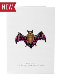 Brand New Greeting Card! Bat Crazy Hearts