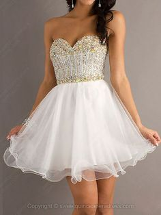 Sweetheart A-line Tulle Short/Mini Beading Sweet Sixteen Dresses #SWEET02042406