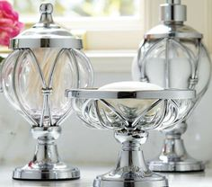 Caged Glass Bathroom Accessories- an elegant addition to your master bathroom counters.