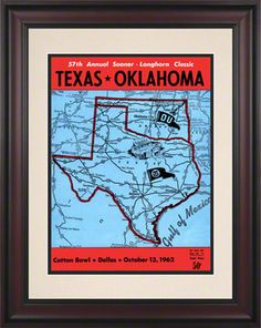 1962 Texas vs Oklahoma 10.5x14 Framed Historic Football Print.  In Oklahoma and Texas' 1962 duel at Dallas, the final score was Texas, 9; Oklahoma, 6. Here's the original cover art from that day's game program -- vibrant colors restored, team spirit alive and well. Officially licensed by the CLC, UT and OU. 10.5 x 14 paper print, beautifully framed in a classic 18 1/4 x 21 3/4 cherry finished wood frame with double matte. Overall dimensions 18 1/4 x 21 3/4.