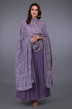 Mulled Grape Chikankari and Kamdani Dupatta With Suit Designer Anarkali Dresses, Pakistani Dresses, Indian Dresses, Indian Outfits, Designer Dresses, Salwar Designs, Kurti Designs Party Wear, Indian Attire, Indian Wear