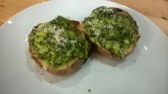 Recipe - twice baked potatoes with kale & hazelnut pesto
