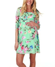 Love this PinkBlush Mint Green Floral Maternity Empire-Waist Dress by PinkBlush Maternity on #zulily! #zulilyfinds