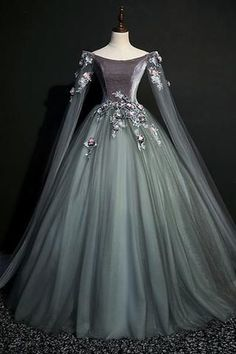 459a40fc20 Tulle v neck off shoulder long customize prom dress, party dress with  sleeves A0675 ·