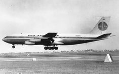 September 8, 1959 - A Pan Am Boeing 707, the first American-built jet airliner to land in Britain, lands in London. 10 crew members and 23 passengers made the historic trip from New York.