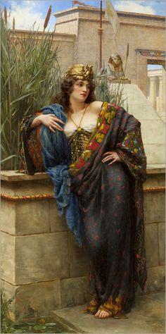 Reginald Arthur (British, Pharaoh's Daughter, 1896 Art And Illustration, Pre Raphaelite Paintings, Turkish Art, Classic Paintings, Historical Art, Victorian Art, Classical Art, Renaissance Art, Fine Art