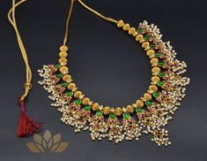 Necklace Guttapusalu Rani – Tamara Jewelry Design Earrings, Jewelry Sets, Silver Jewelry, Jewelry Necklaces, Beaded Necklace, Indian Jewellery Design, Indian Jewelry, Gold Pendent, 925 Silver