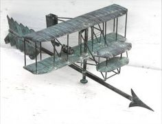 Fine 1930's-40's copper biplane on arrow weathervane -
